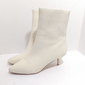 Anthro Charlotte Stone 'jules' white leather boots